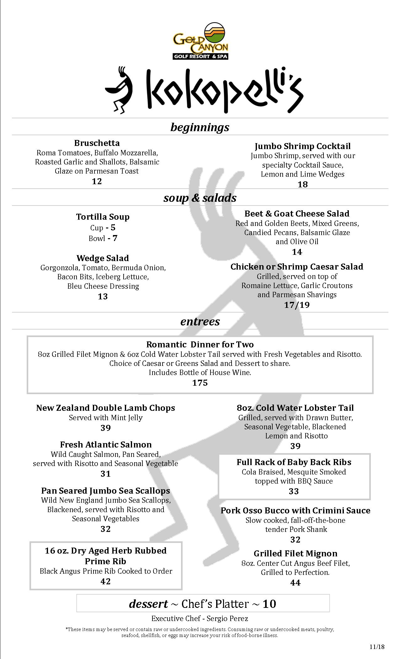 2018 2019 Holiday Dinner Menu updated 11 14 18