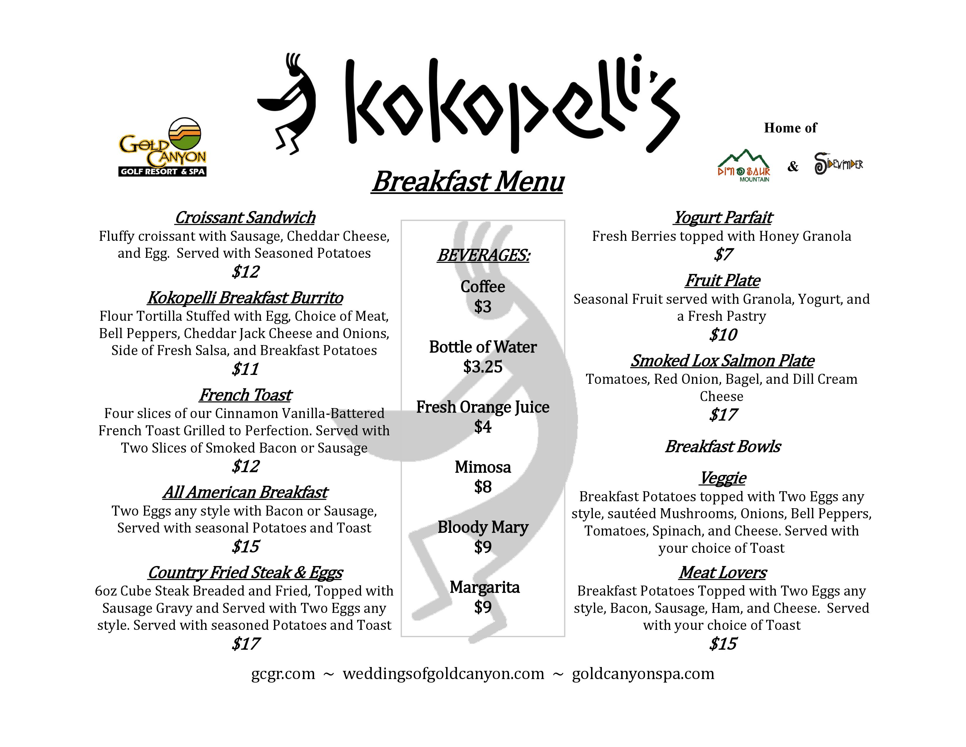 Breakfast Menu Kokopelli