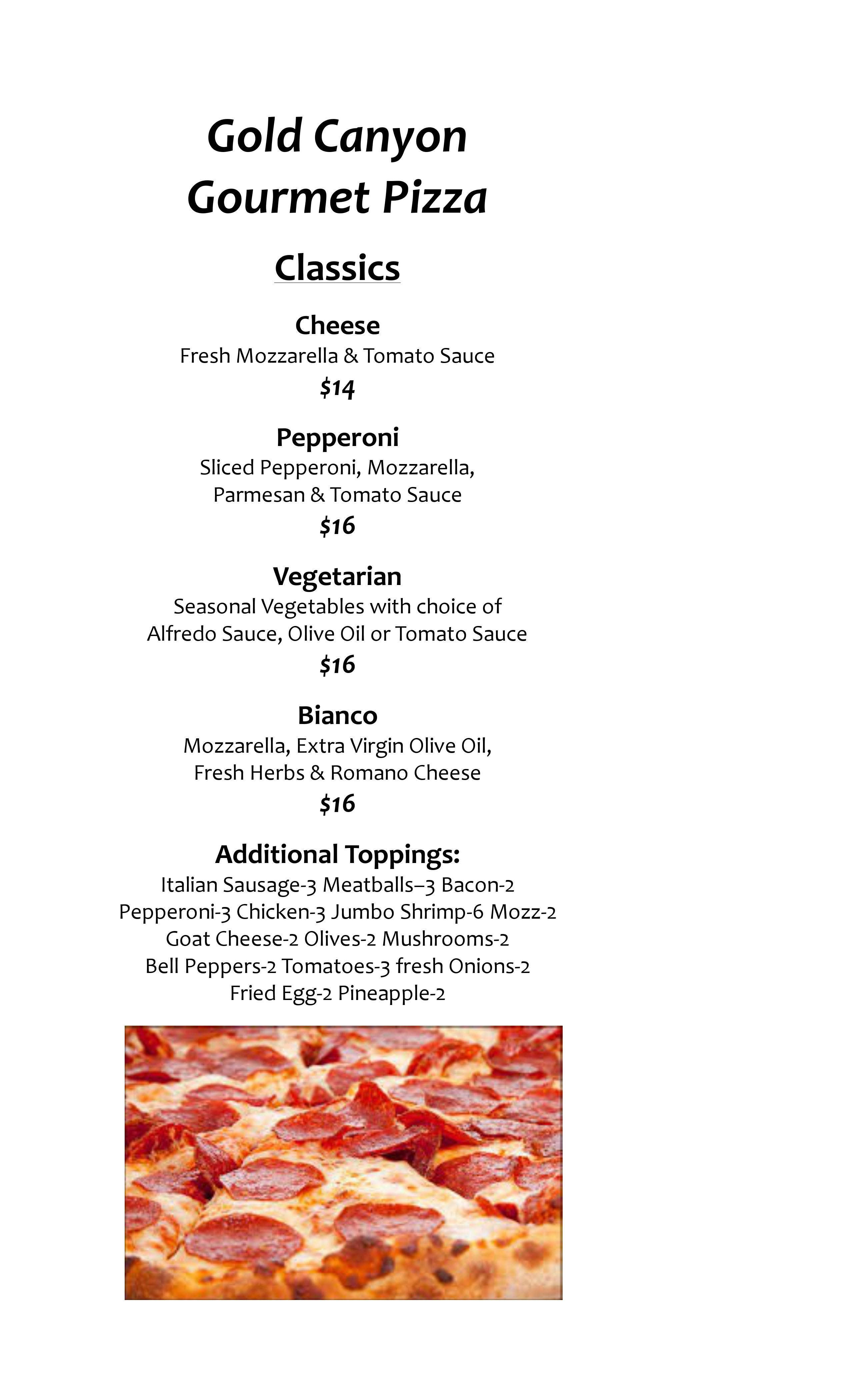 Pizza menu one